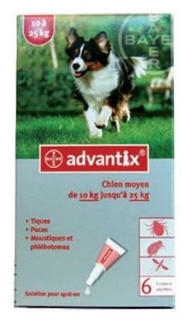 ADVANTIX CAO 10 A 25 KG CX4 - Antiparasitários - Tratamentos para cão
