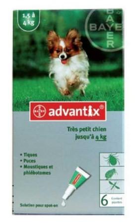 ADVANTIX CAO ATE 4 KG CX4 - Antiparasitários - Tratamentos para cão